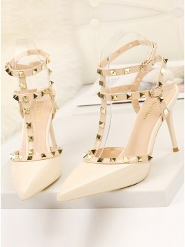 Apricot Closed Toe High Heels Prom Shoes with Rivet