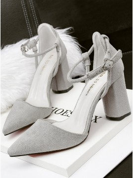 Grey Suede Closed Toe Cone Chunky High Heel