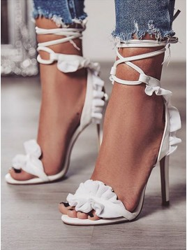 Women's White Lace Sandals
