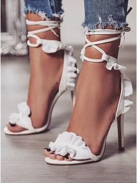 Women's White Lace Sandals