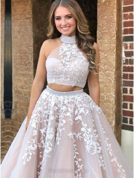 High Neck Open Back Long Champagne Two Piece Prom Dress with Appliques