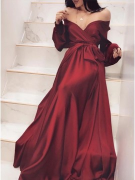Chic A-Line Off-the-Shoulder Dark Red Long Sleeve Prom Dress