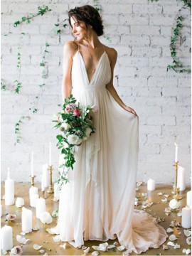 A-Line Deep V-Neck Ivory Chiffon Beach Backless Wedding Dress with Pleats