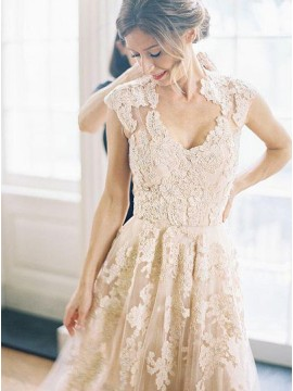 Elegant V-Neck Sleeveless A-Line Wedding Dress with Lace