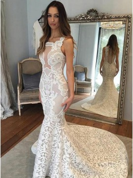 Mermaid Square Neck Sweep Train White Lace Wedding Dress