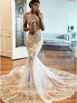 Mermaid Off-the-Shoulder Half Sleeves Wedding Dress with Appliques