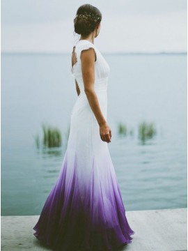 Mermaid V-neck Open Back Purple Dip Dye Chiffon Wedding Dress