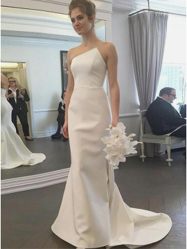 Mermaid Strapless Sleeveless White Satin Wedding Bridal Dress with Sweep Train