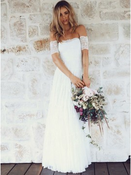 A-Line Off-the-Shoulder Short Sleeves Lace Boho Wedding Bridal Dress