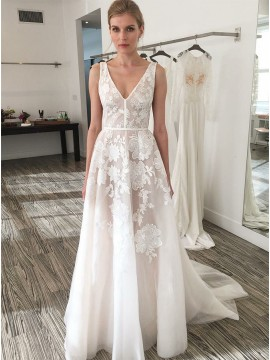 A-Line V-Neck White Backless Wedding Dress with Appliques