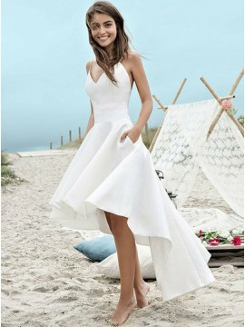 High Low Spaghetti Straps Satin Backless Beach Wedding Dress with Pockets