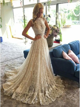 A-Line Round Neck Cap Sleeves Light Champagne Lace Wedding Dress