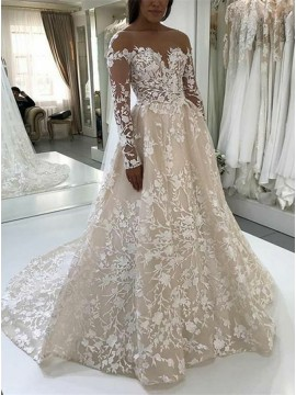 A-Line Bateau Backless Long Sleeves Light Champagne Lace Wedding Dress