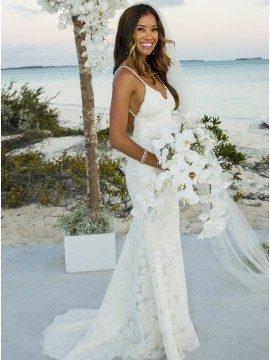 Mermaid Spaghetti Straps Backless White Lace Wedding Dress