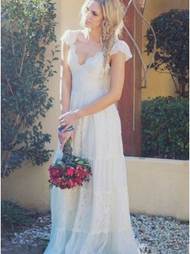 A-Line V-Neck Sweep Train Lace Beach Wedding Dress with Cap Sleeves