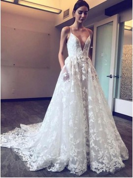A-Line Spahetti Straps Lace Wedding Dress with Pockets