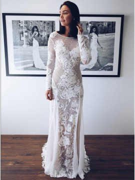 Mermaid Bateau Long Sleeves Backless Sweep Train White Wedding Dress with Appliques