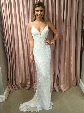 Mermaid Spaghetti Straps Backless Wedding Dress with Beading