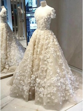 A-Line Round Neck Light Champagne Wedding Dress with Appliques