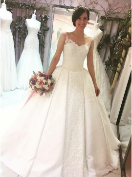 Ball Gown V-Neck Court Train Wedding Dress with Appliques Sequins