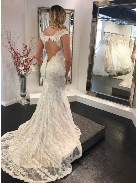 Mermaid V-Neck Short Sleeves Open Back Wedding Dress with Appliques