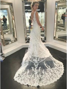 Mermaid Bateau Backless Sweep Train Wedding Dress with Appliques