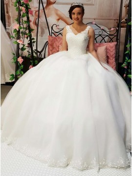 Ball Gown V-Neck Sweep Train Wedding Dress with Appliques Beading
