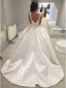 Ball Gown Square Neck Backless Court Train Wedding Dress with Appliques