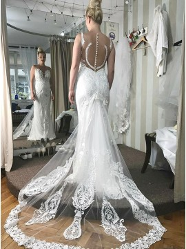 Mermaid Rond Neck Sweep Train Wedding Dress with Appliques