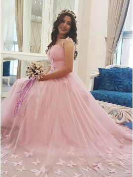 A-Line V-Neck Court Train Pink Wedding Dress with Butterfly