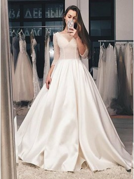 A-Line Bateau 3/4 Sleeves Sweep Train Wedding Dress with Beading