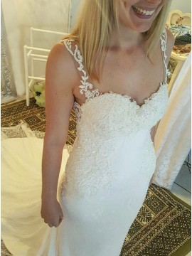 Mermaid Straps Backless Sweep Train Wedding Dress with Appliques