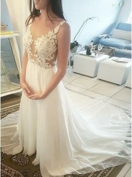 A-Line Round Neck Sweep Train White Chiffon Wedding Dress with Appliques