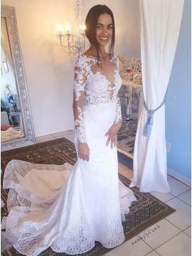 Mermaid Bateau Long Sleeves Backless White Lace Wedding Dress