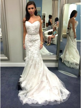 Mermaid Sweetheart Sweep Train Wedding Dress with Beading