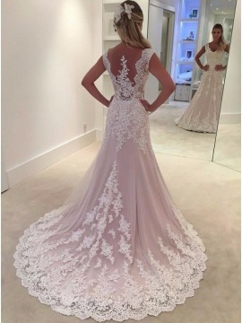 Mermaid V-Neck Sweep Train Pink Wedding Dress with Appliques