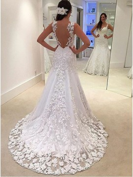 Mermaid V-Neck Sweep Train White Wedding Dress with Appliques