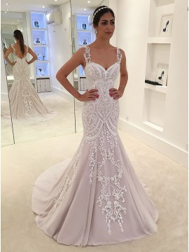 Mermaid Straps Sweep Train Pearl Pink Wedding Dress with Appliques