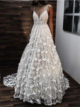 Spaghetti Straps Backless Wedding Dress with Flowers Boho Bridal Dress