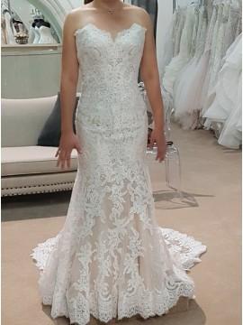 Mermaid Sweetheart Backless Sweep Train Wedding Dress with Lace