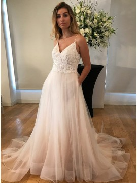 A-Line Spaghetti Straps Backless Wedding Dress with Lace Pockets