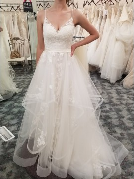 A-Line Spaghetti Straps Sweep Train White Tiered Wedding Dress with Appliques