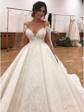 Ball Gown Off-the-Shoulder Long Sleeves Lace Wedding Dress with Beading