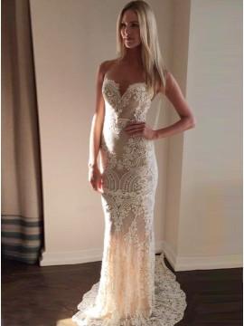 Mermaid Sweethert Court Train Light Champagne Lace Wedding Dress