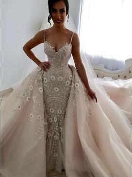 Mermaid Spaghetti Straps Detachable Pearl Pink Wedding Dress