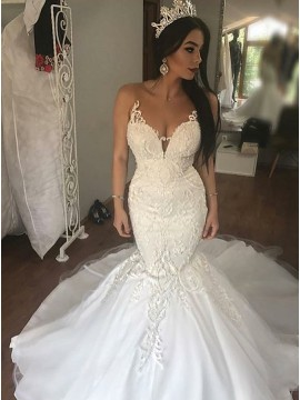 Mermaid Round Neck Sweep Train Wedding Dress with Appliques