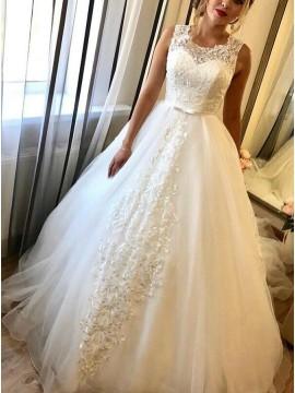 A-Line Round Neck Court Train Wedding Dress with Appliques