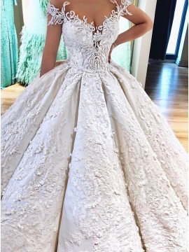 Ball Gown Off-the-Shoulder Wedding Dress with Pockets Appliques