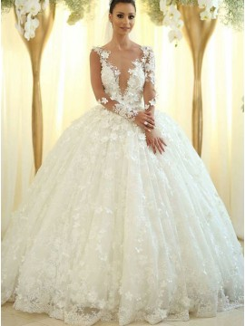 Ball Gown Deep V-Neck Long Sleeves Wedding Dress with Appliques