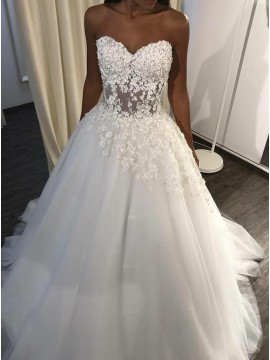 A-Line Sweetheart Sweep Train Wedding Dress with Appliques